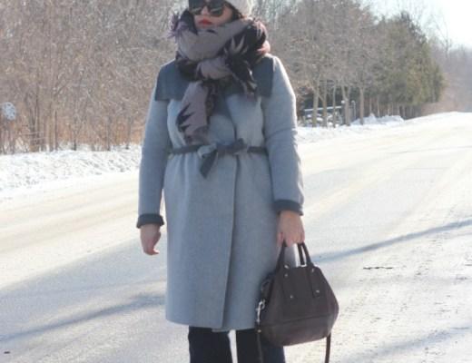soia & kyo grey wrap coat