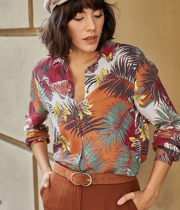 قميص كم طويل بنقشة ازهار ملونة-ملون