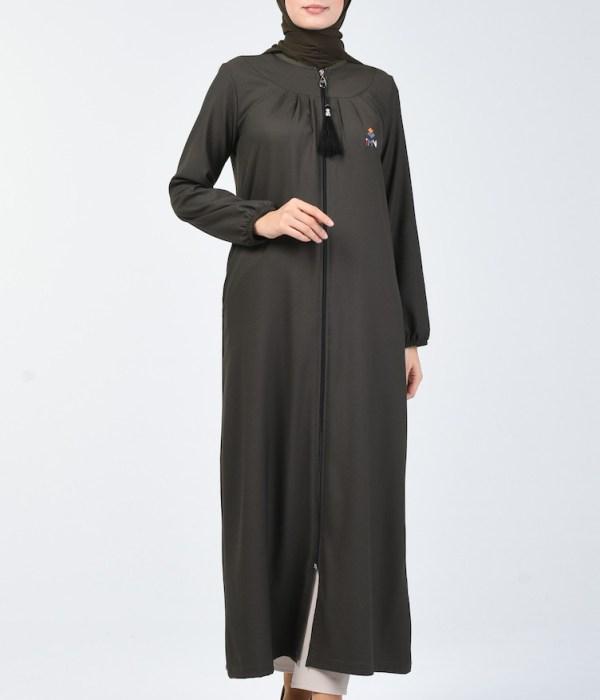 Plain Zipper Abaya - Khaki