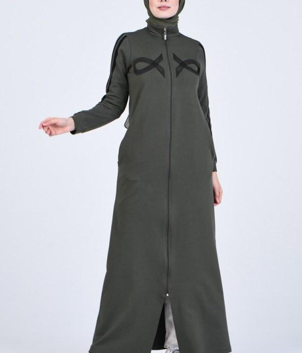 Sporty Abaya With Zipper - Khaki