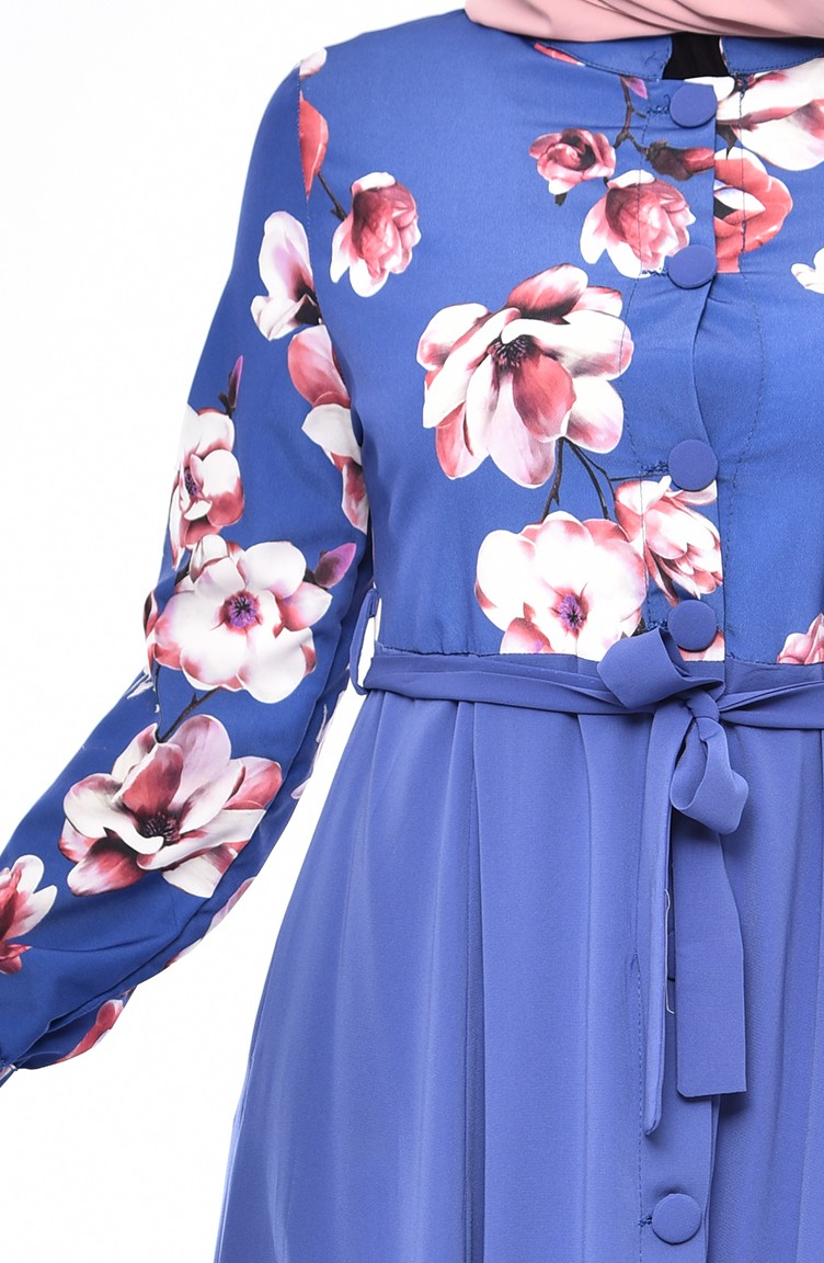 Abaya With Floral Print Buttons - Indigo Color