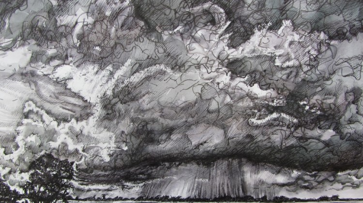 Storm Clouds over Emsworth (PEN INK WASH STUDY WORKING TOWARDS ETCHING)