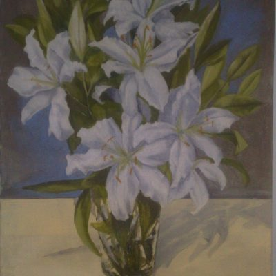 Lilies - oil - 330 by 440mm - by Patricia Flint