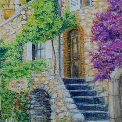 Village in Province - Pastel Pencils - 30cm x 24cm - by Lyn Messenger