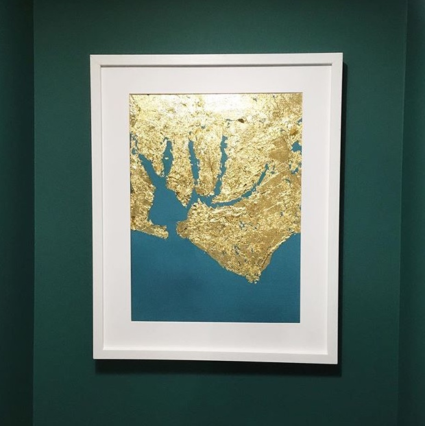 Chichester Harbour - Gold leaf and oil paint on canvas