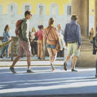 By the river Arno - Oil - 50 x 30cm - by Richard Whincop