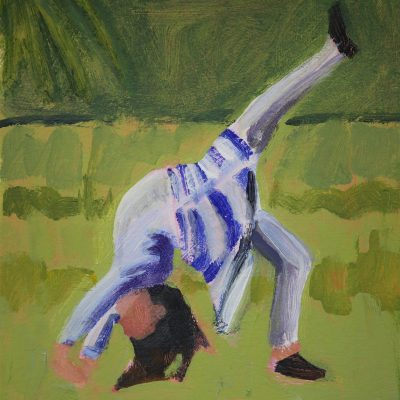 Cartwheel - Acrylic on paper mounted on board - 15cm x 15cm - by Laura Fletcher