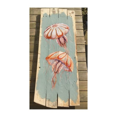 Compass Jellyfish - Acrylic paint on reclaimed wooden boards - 29 x 76 cms - by Andrew Lean