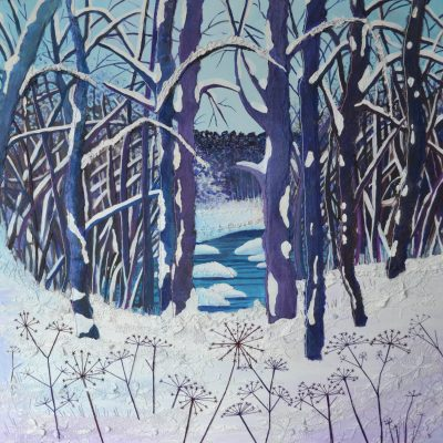Cow Parsley in the Snow - Acrylic and Stitch - 60cm x 60cm - by Ann Smith