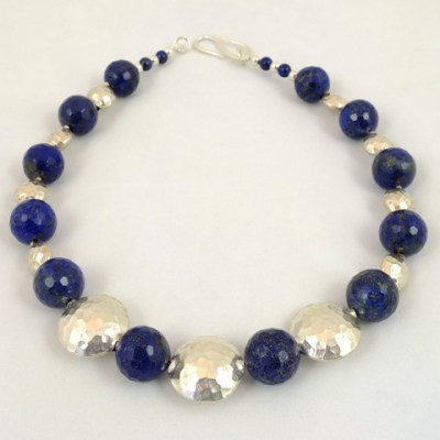 statement lapis - lapis and sterling silver - necklace - by Jan Slough