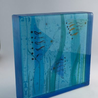 Fish Block - Fused glass block - 17x17x4 cm (2.5kg) - by Anne Marshall