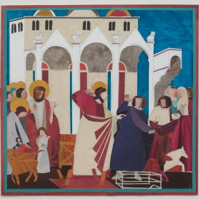 TRANSCRIPTION:  GIOTTO  CHRIST DRIVING OUT THE TRADERS FROM THE TEMPLE 2018 - Collage on paper - 30.8 x 30.7 cm - by Henrietta Smith