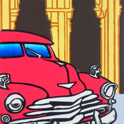 Havana 5 - woodcut print - 30x45cm - by Chris Gilbert
