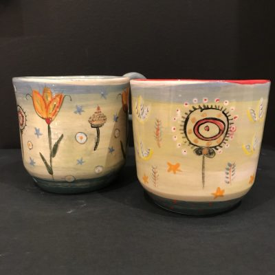spring mugs - ceramic - mixed sizes - by Sarah Sykes
