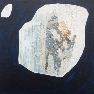 Life in stone - Board, gesso, glue, acrylic paint, pigment - 25x25cms - by Tiffany Robinson