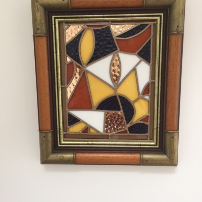 Indian fabric - copper and glass - 27 cms by 35 cms - by Claudia Parker
