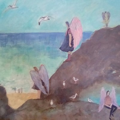 A Day At The Seaside - Acrylic - 50 x 40 cm - by Angela Whiteman