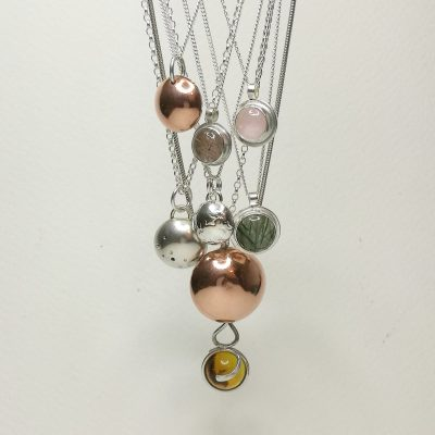 Silver and gemstone Orbs - Silver