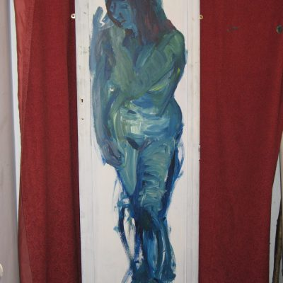Green Lady - Acrylic on board - 67 inches X 21 inches - by John Clements