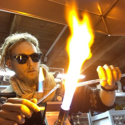 Me working - Glass - Flameworking - by Peter Barton