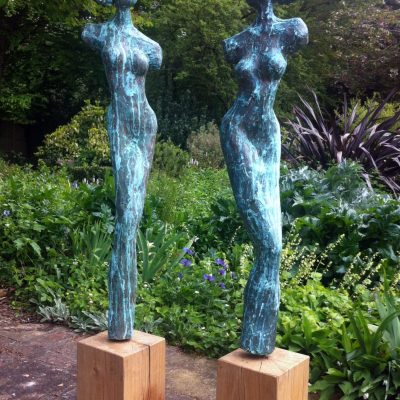 Les Soeurs - Verdigris bronze resin on oak - 1.8m - by Lou Johns
