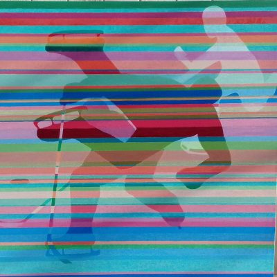 Ice Hockey - Oil paint on canvas - 1 meter X 1 meter - by Anne Cassidy