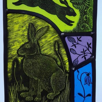 Hare and rabbit. - stained glass - 139mm x 190mm - by Karen Boxall