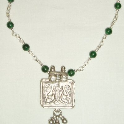 Yemeni pendant with nephrite jade and sterling silver - Silver and jade