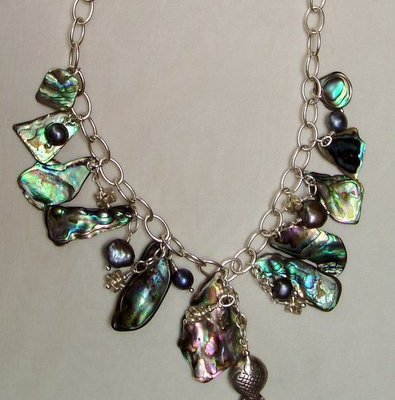 NZ Paua shell with freshwater pearls and sterling silver - Paura and silver - 45cm - by Margaret Hurst
