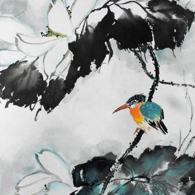 Kingfisher - Chinese watercolour and ink - 45 cm x 40 cm - by Sylvia Van Strijthem