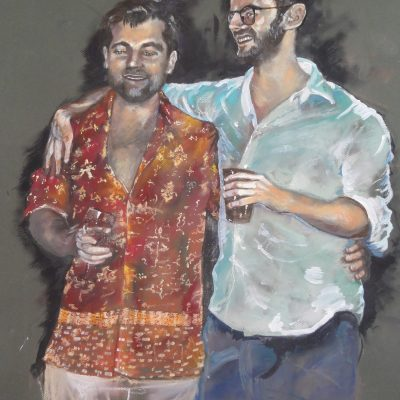 Chris and Alex - pastel/ acrylic ink - 300 x 400 mm - by John Marston