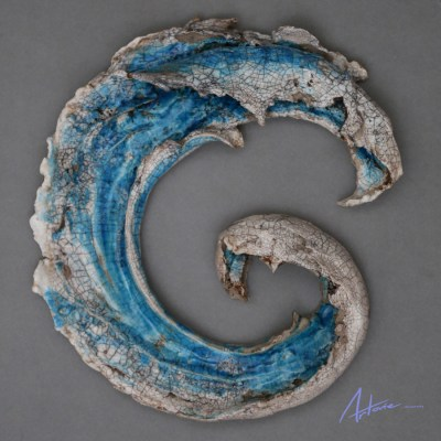 Rolling Wave - Framed Raku-Fired Ceramics