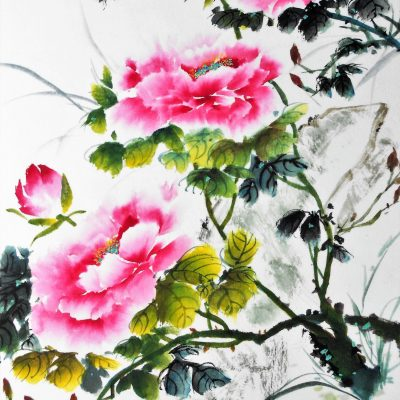 Peonies - Chinese watercolour and ink - 45 cm x 40 cm - by Sylvia Van Strijthem