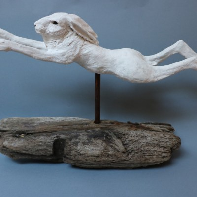 Leaping Hare - Ceramic - 40 cm - by Gill Hunter Nudds
