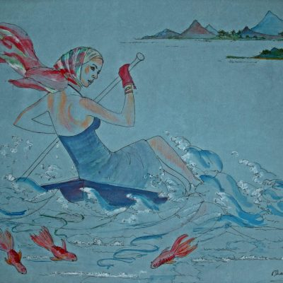 Racing with Fishes      - Watercolour on paper - 18 x 24 inches - by Patricia Shears