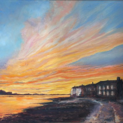 Bosham Foreshore, Sunset - Oil on canvas - 90 x 80 cm - by James Ware