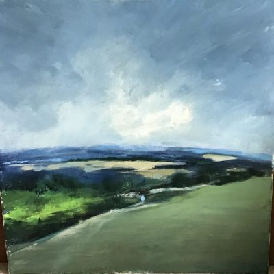 "Downland - Oil - 25"" x 25"" - by Liz Luffingham"