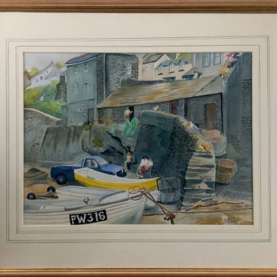 Fishing Boats and Visitors, St. Ives, Cornwall - Watercolours - 57 cm W x 46.5 cm H - by Camilla Blackett