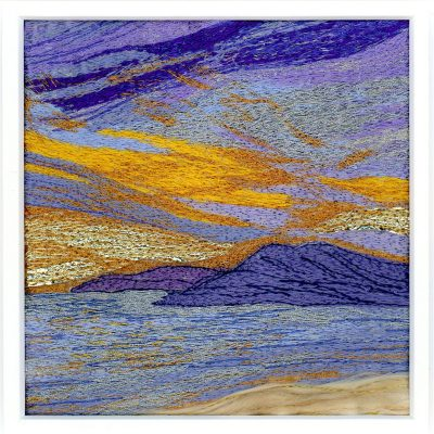 Golden Light of Evening - Machine Embroidery - 5in sq aperture mounted to 12in sq - by Carol Naylor