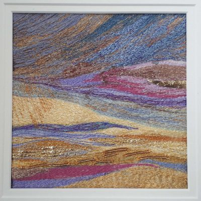 Spring Sunset - Machine Embroidery - 6in sq aperture mounted to 12in sq - by Carol Naylor