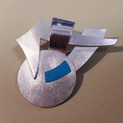 Brooch - Silver with synthetic inlay - 5cm - by Collette Batho