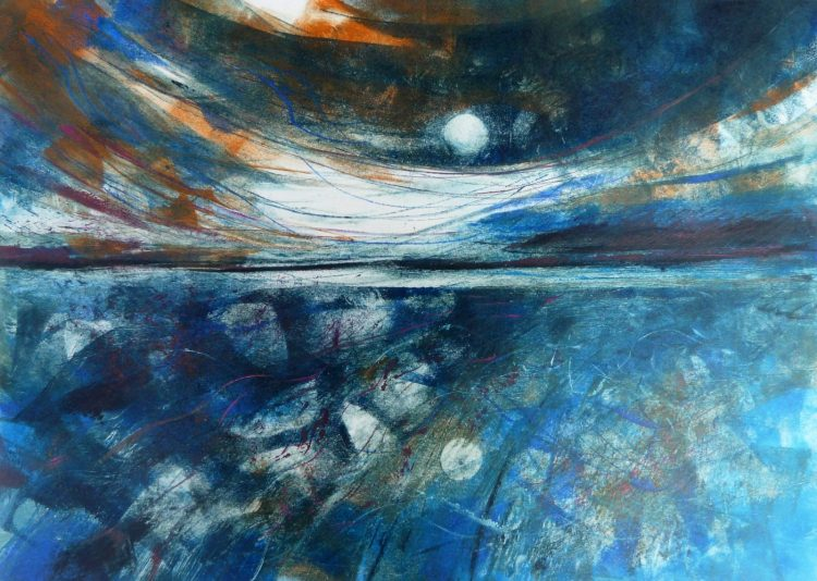 Journey by Moonlight - oil on paper monotype