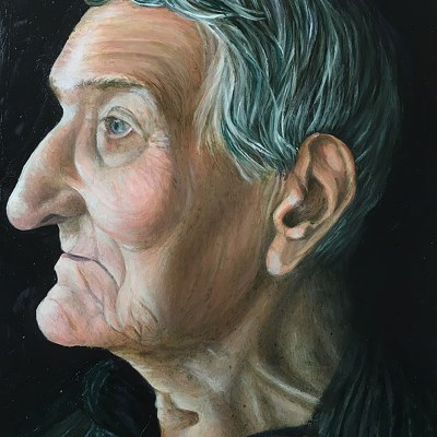 Portrait of Peter - Oil on wooden panel - 150mm x 203mm - by Fiona Bell-Currie