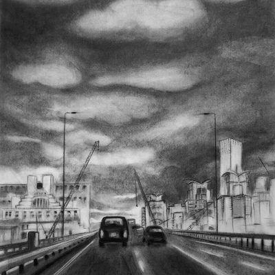 Chock-a-Block - Charcoal - A1 - by Amy Tattersall