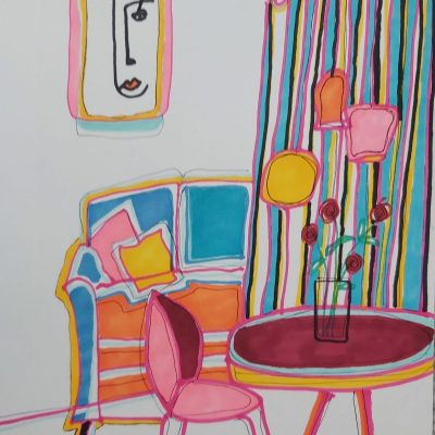House Beautiful - Paint pens - 30 x 40 cms - by Kate Rosie