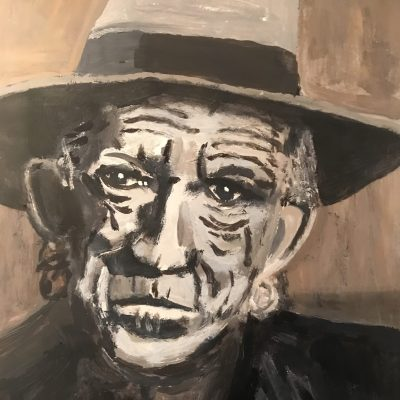 Keith Richards - portrait - Acrylic on paper - A3 - by Peter Hudson