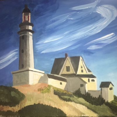 Lighthouse at Two Lights, after Hopper - Acrylic on canvas - A2 - by Peter Hudson