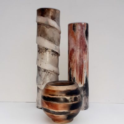 Smoke fired trio - Stoneware - Height 30cm, 28cm, 10cm - by Marise Rose