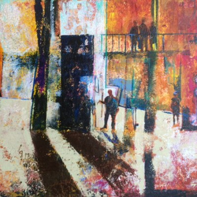 The Gallery - Mixed media on Khadi paper - 91cm X 104cm unframed - by Min Maude
