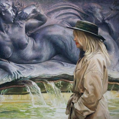 A Coin in the Fountain - Oil on board - 66 x 50cm - by Richard Whincop